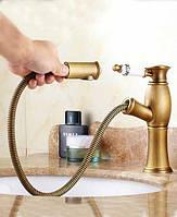 Смеситель для умывальника с выдвижным душем Art Design Deco 0169-2 бронза