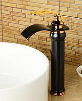 Смеситель для раковины с каскадным изливом Art Design CH0135 черный с золотом