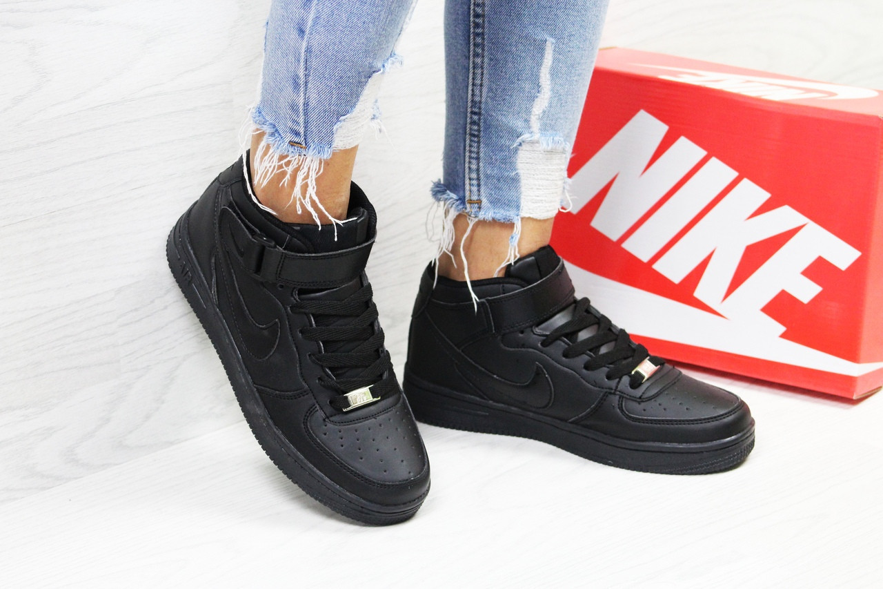Кроссовки женские черные высокие Nike Air Force 6372 (Кросівки найк жіночі  взуття спортивне обувь спортивная) 92315cc394344