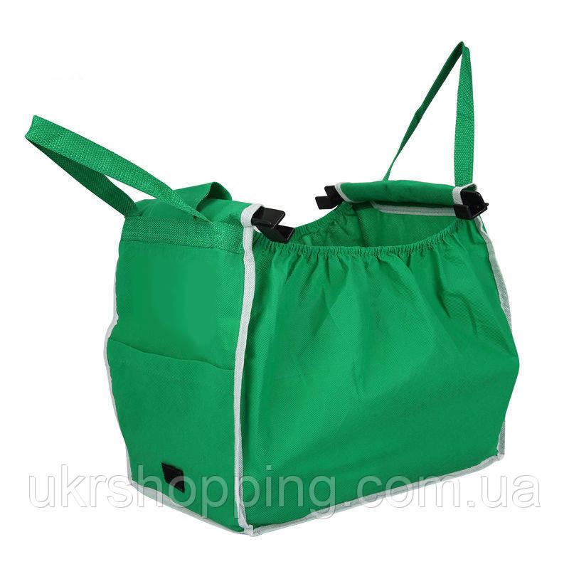 🔝 Складная сумка для покупок Grab Bag Snap-on-Cart Shopping Bag, с доставкой по Украине | 🎁%🚚