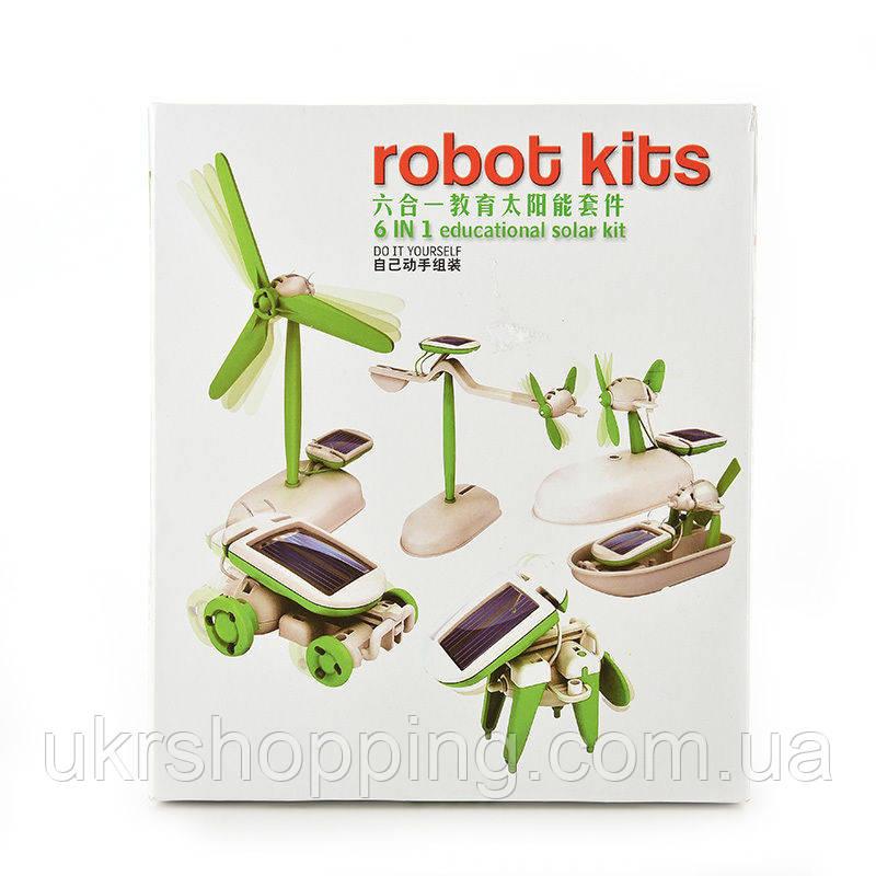 🔝 Конструктор на солнечной батарее Robot Kits 6 в 1, робот трансформер, с доставкой по Киеву и Украине | 🎁%🚚