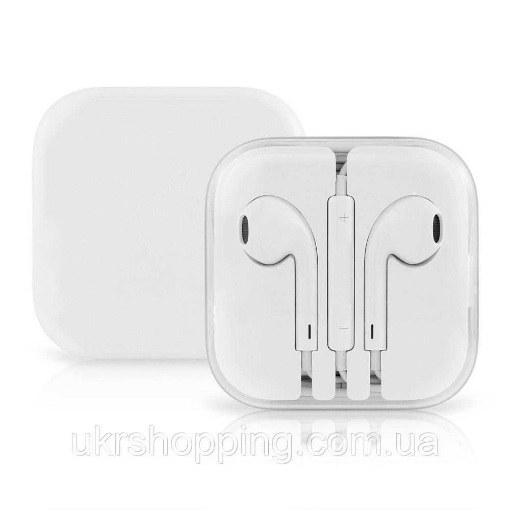 Наушники для телефона с микрофоном EarPods, проводная гарнитура, цвет - белый, с доставкой по Киеву и Украине