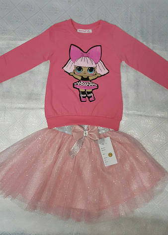 Модный реглан для девочек 92-98-104-110-116 роста Кукла LOL, фото 2