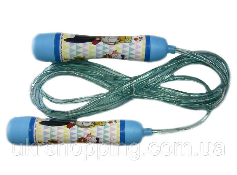 🔝 Детская скакалка, электронная, светящаяся, HY-606, цвет - голубой | 🎁%🚚