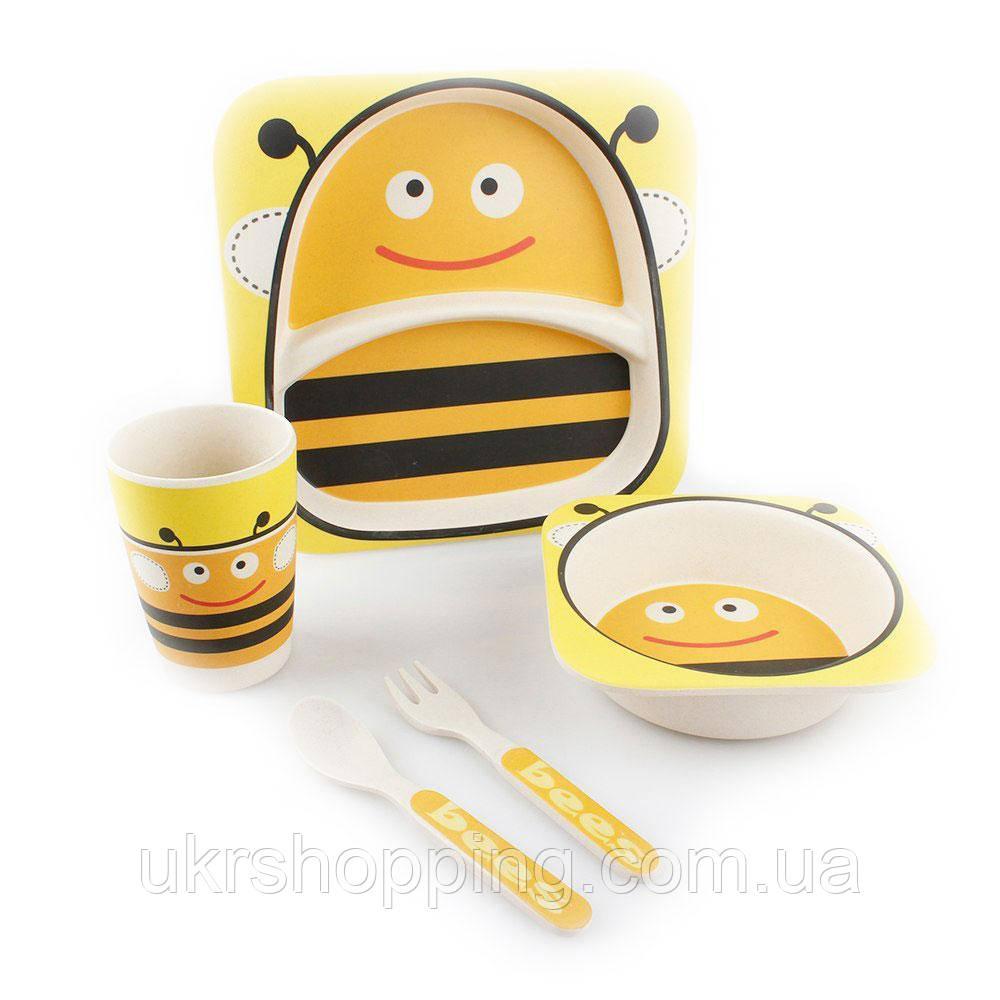 🔝 Детская посуда из бамбука, экологическая посуда, для еды, набор из 5 предметов, расцветка Пчёлы   🎁%🚚