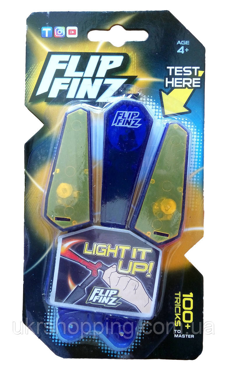 🔝 Игрушечный нож бабочка, Flip Finz (Флип Финз), светящийся - синий/оранжевый, с доставкой по Киеву и Украине | 🎁%🚚
