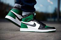Кросівки Air Jordan 1 Retro High Pine Green зелені з білим в стилі найк аїр джордан