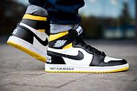 Кросівки Nike Air Jordan 1 Retro High жовті з білим в стилі найк аїр джордан