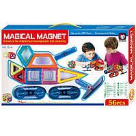 Детский магнитный конструктор с колесами Magical Magnet, 56 деталей, фото 1