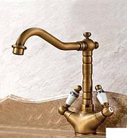 Ретро смеситель для раковины чаши  Art Design Deco 1065 бронза