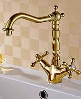 Смеситель для раковины двухвентильный Art Design Deco Gold 065 золото