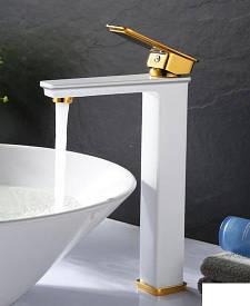 Высокий смеситель для раковины Art Design 80016WG белый