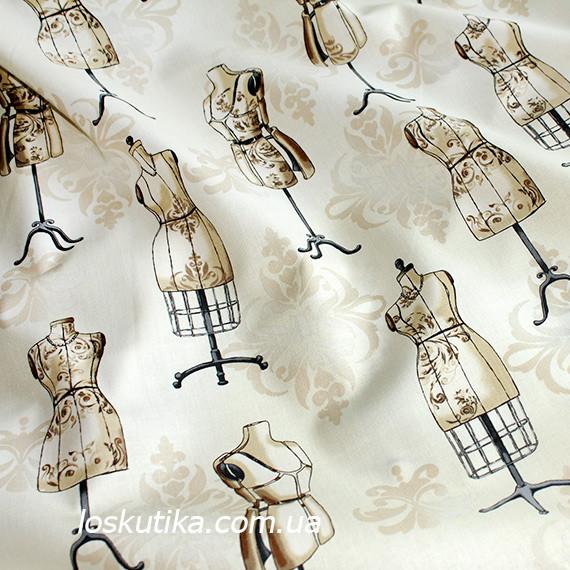 43002 Манекены. Ткань с принтом на тему рукоделие. Подойдет для шитья и декора.