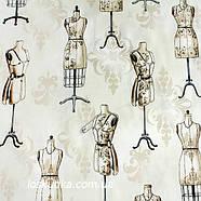 43002 Манекены. Ткань с принтом на тему рукоделие. Подойдет для шитья и декора., фото 2