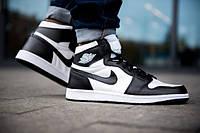 Чоловічі кросівки Nike Air Jordan 1 Royal Retro High чорно-білі топ репліка