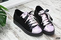 Кеды Brooklyn черные с лиловой лазерной кожей. Натуральный замш, фото 1