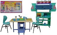 """Мебель для кукол """"Gloria"""", для столовой, стол, стулья, буфет, посуда, 21011"""