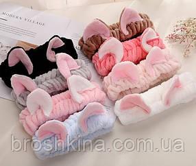 Махровые повязки для умывания с ушками 12 шт/уп. без выбора цвета