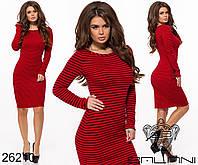 Облегающее ангоровое платье в полоску размеры S-L, фото 1