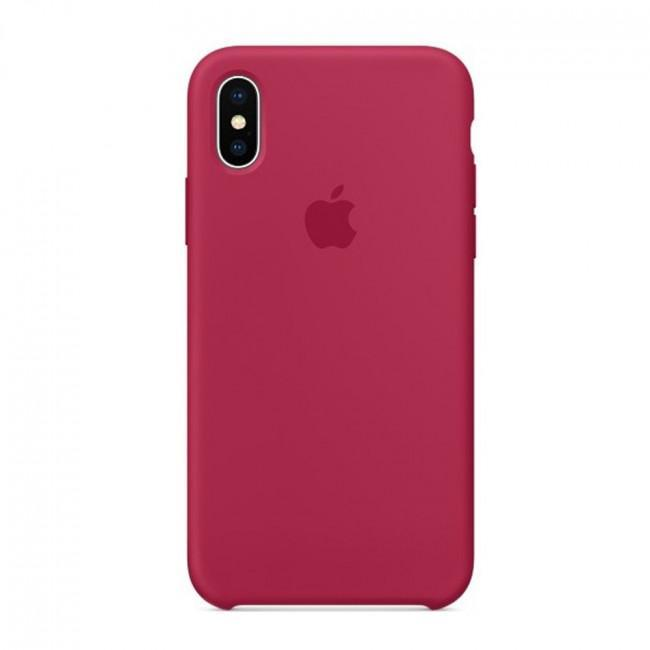 Чехол для iPhone Xs MAX Silicone case Rose Red