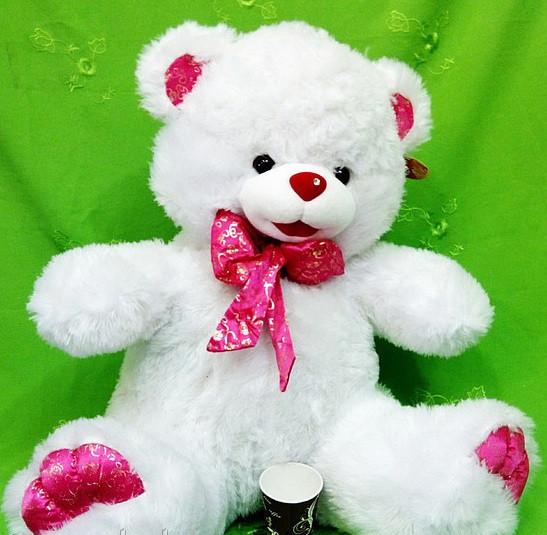 Очаровательный плюшевый Мишка 65 см с розовым бантом прекрасный подарок для девочки