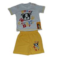 Детский летний костюм (футболка на кнопках и шорты) для мальчика (с рисунком собачка) Турция