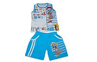 Детский костюм (майка и шорты) для мальчика летний облегченный (синий с собачкой) Турция