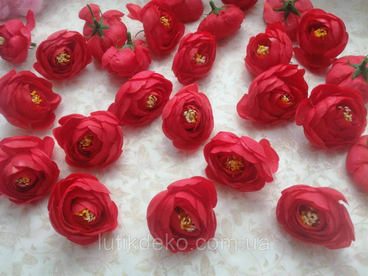 Штучні квіти. Головка ранункулюса 4 см. Червона