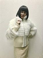 Куртка меховая женская из песца на шелке белая на молнии