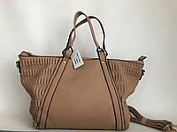 Женская сумка классическая бежевая