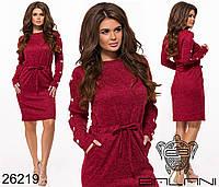 Повседневное платье с поясом-шнурком размеры S-L, фото 1