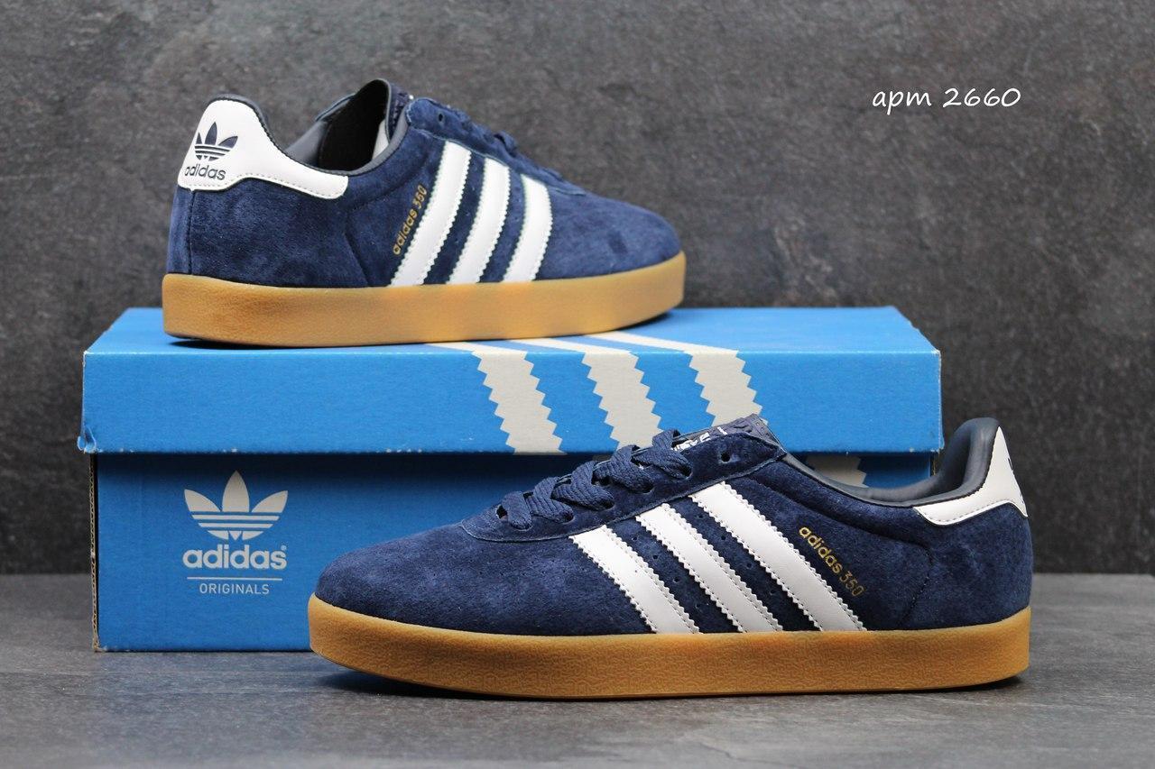 Мужские кроссовки Adidas 350 темно синие 2660 чоловічі кросовки адідас  кроси взуття спортивне обувь спортивная - 8840424899756