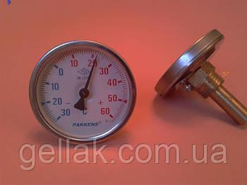 "Термометр биметаллический трубчатый PAKKENS Ø63мм / -30 до +60 °С / гильза L=50 мм (с резьбой 1/2"") Турция"