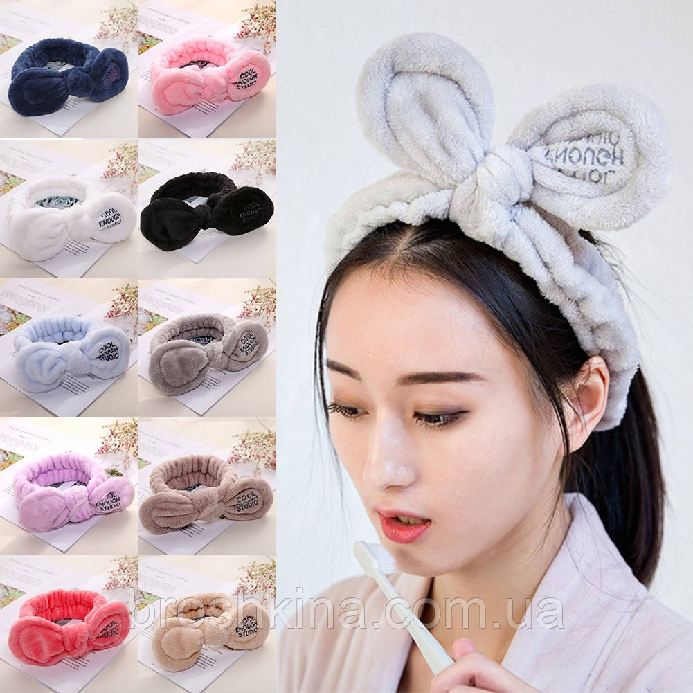 Махровая повязка на голову (для волос) с бантом COOL