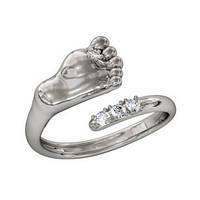 Кольцо  женское серебряное Ножка Младенца,Малыша, фото 1