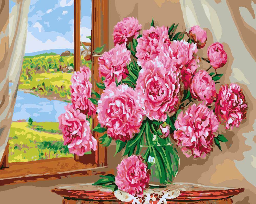 Картина по Номерам 40x50 см. Пионы у окна