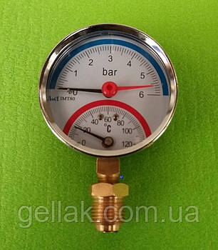 Термоманометр радиальный на резьбе 1/2 дюйма Ø80мм / 0-6 бар / Tmax=120°С
