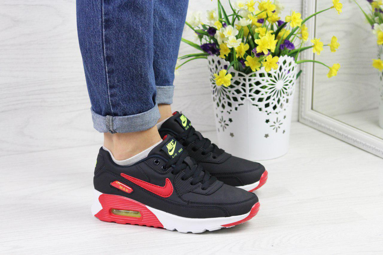 d389a39da4a3ec Кроссовки женские Nike Air Max 90 темно синие красным 4367 (жіночі найк  взуття обувь спортивная