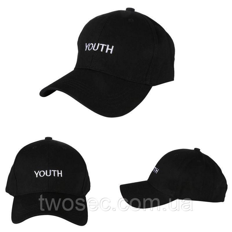Кепка бейсболка черная женская, мужская, унисекс в стиле Youth (Юность, Молодость) черного цвета