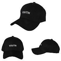Кепка бейсболка черная женская, мужская, унисекс в стиле Youth (Юность, Молодость) черного цвета, фото 1