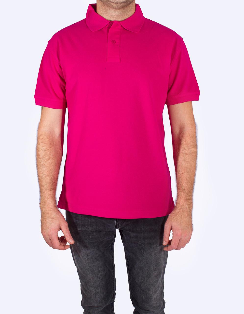 Поло - футболка мужская, малиновый цвет, JHK T-shir, однотонная, промо одежда, от XS до XXL