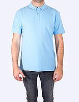 Поло - футболка мужская, голубой цвет, JHK T-shir, однотонная, промо одежда, от XS до XXL