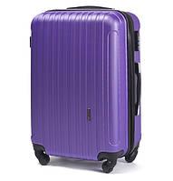 Большой пластиковый дорожный чемодан на 4 колесах фирма Wings (сиреневый)