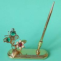 """Позолоченная подставка с ручкой с кристаллами Сваровски """"Бабочка на цветке"""""""