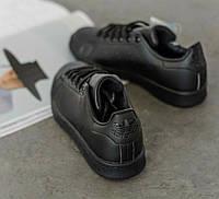 Adidas Stan Smith Black | кроссовки-кеды женские и мужские; черные