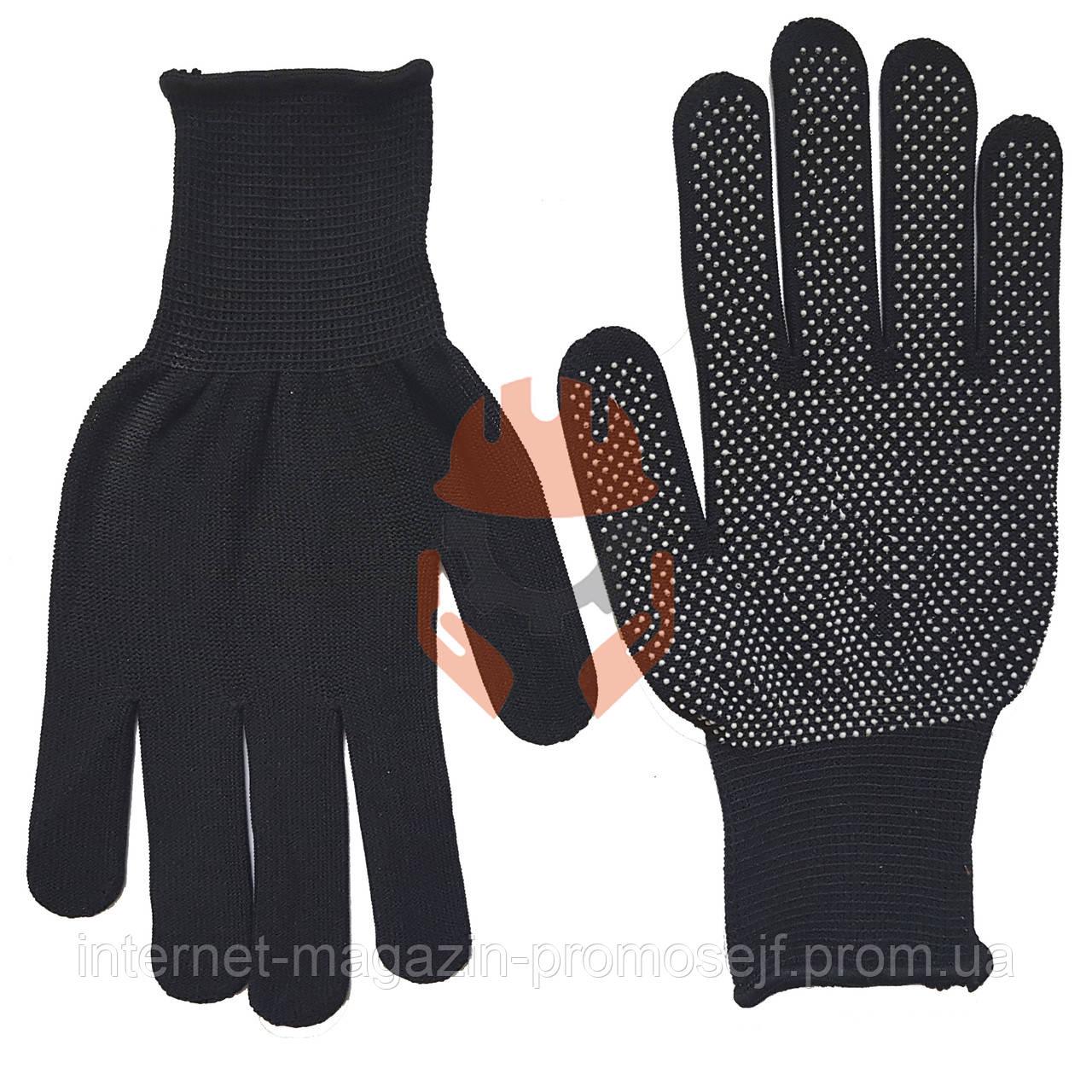 Перчатки с ПВХ точкой черные