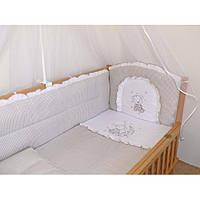"""Детское постельное белье в кроватку """"Вышивка клетка Мишка"""" цвет беж, фото 1"""