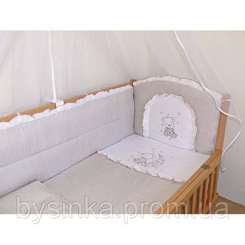 """Детское постельное белье в кроватку """"Вышивка клетка"""""""