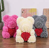 Ведмедик з 3D троянд з сердечком/ в коробці/ 40 см