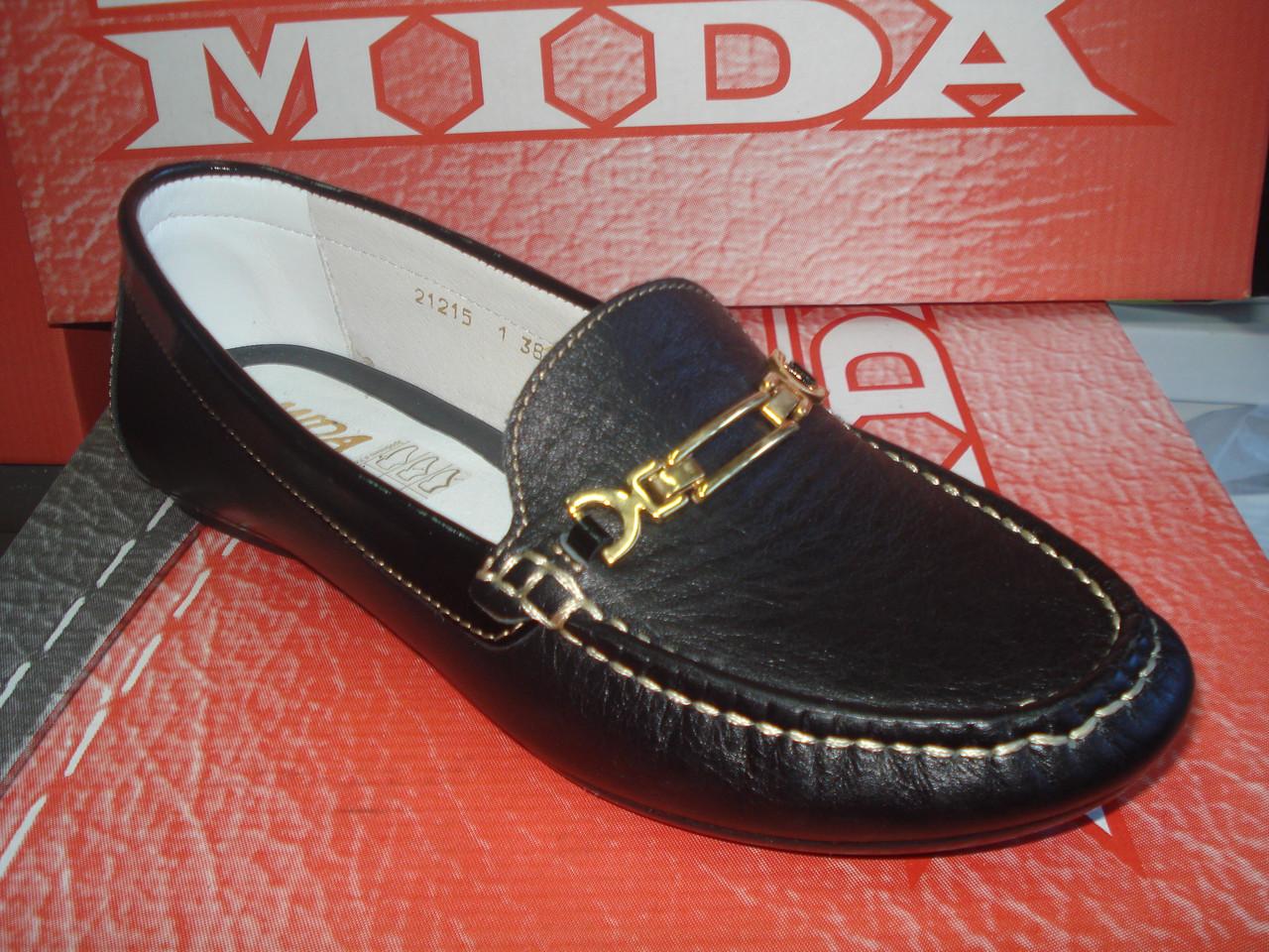 Мокасины женские кожаные МИДА 21215 черные.
